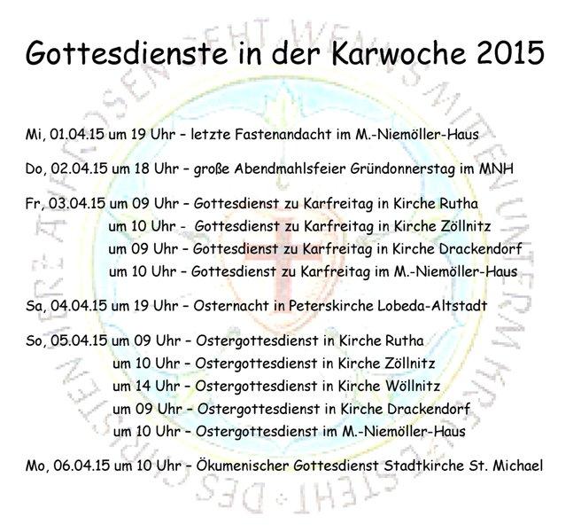 Martin Niemöller Haus: März « 2015 « Evangelisch-Lutherischer