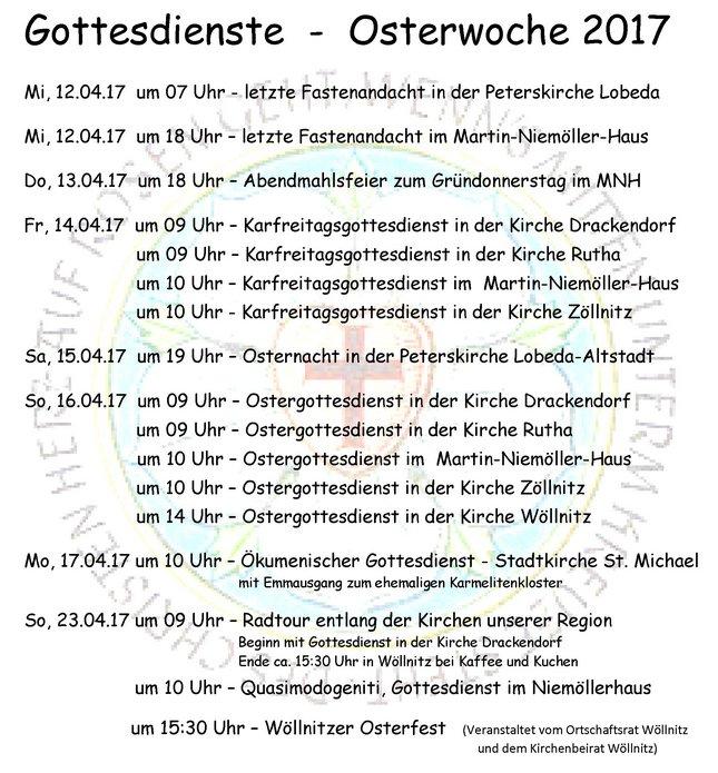 Gottesdienste in der Osterwoche 2017