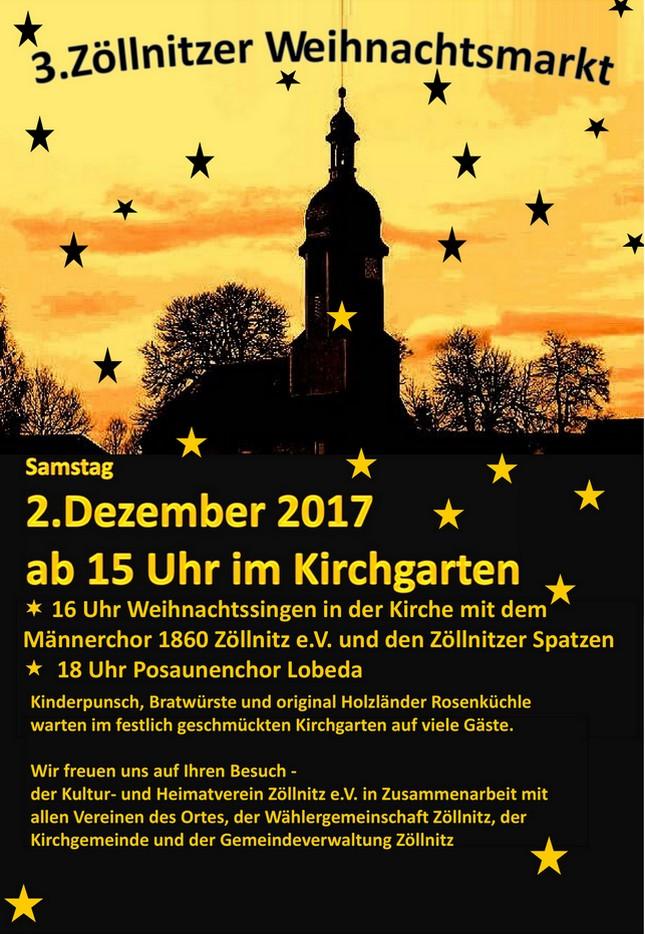 Weihnachtsmarkt Zöllnitz Plakat_2017
